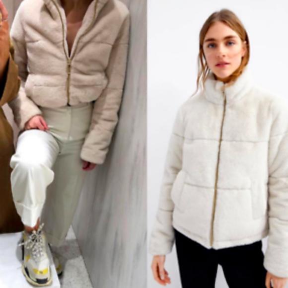 2a181cc3 Zara Jackets & Coats | Ecru Faux Fur Jacket Size S | Poshmark